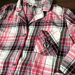 Victoria's Secret flannel button up pajama top Lg